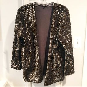 Express Jacket Cardigan Gold Sequin Small Blazer